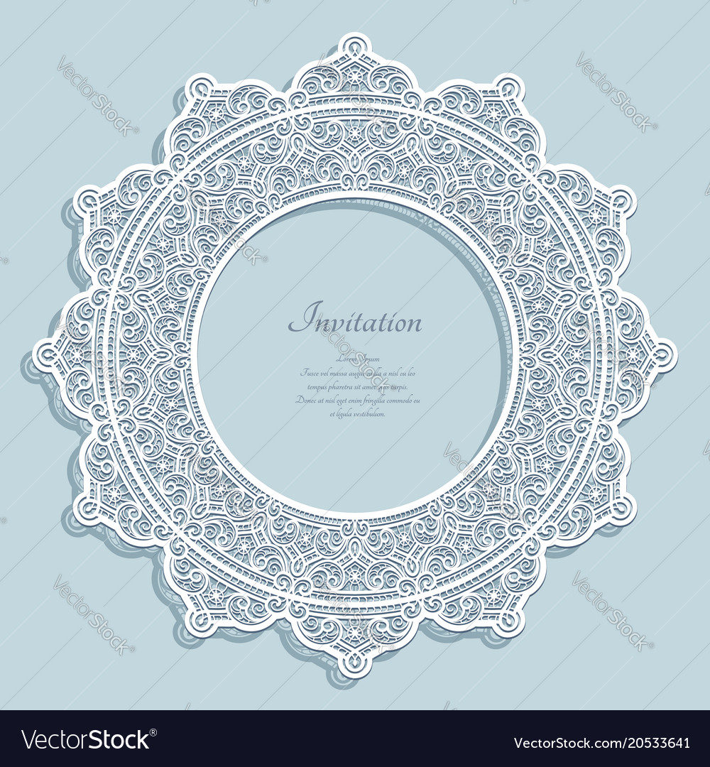 Round frame with lace border pattern