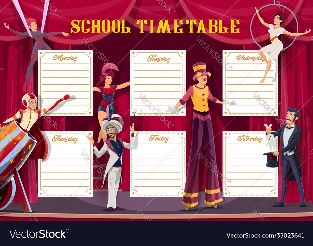 School timetable weekly planner circus show
