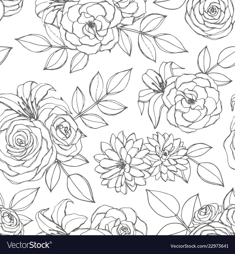 Seamless pattern with rose lily peony flowers
