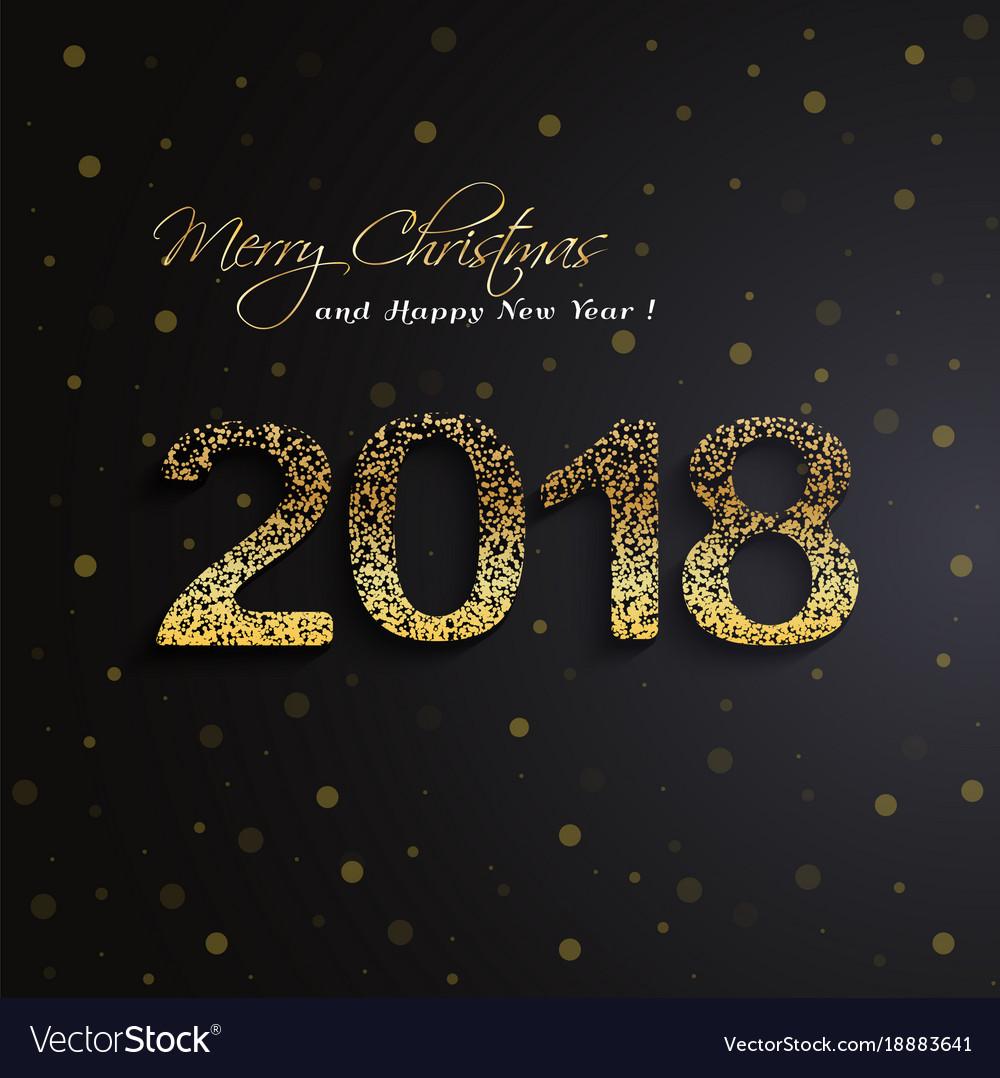 Shining gold 2018 happy new year on black