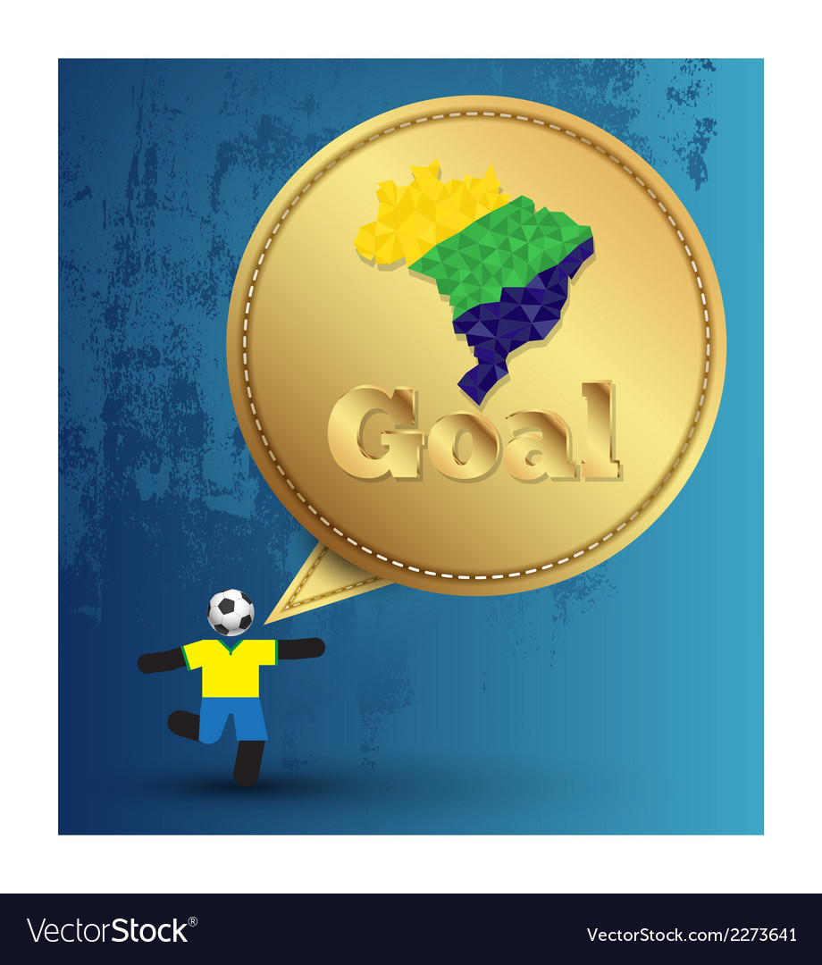Speech gold embroidery goal with soccer player act