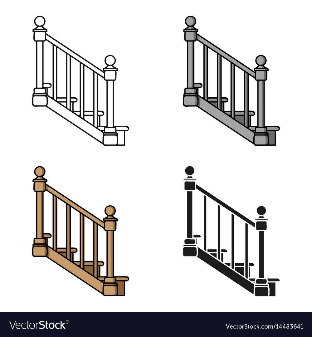 Stairs icon in cartoon style isolated on white