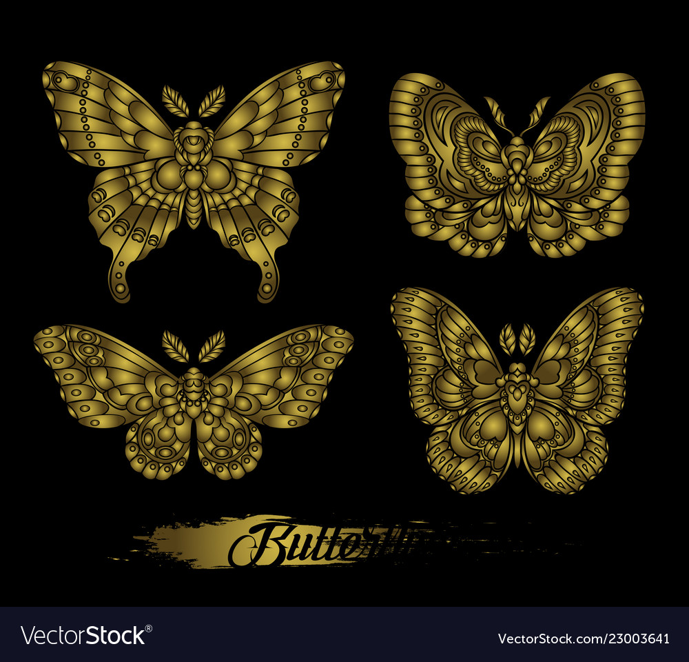 Stylised golden butterflies on black background