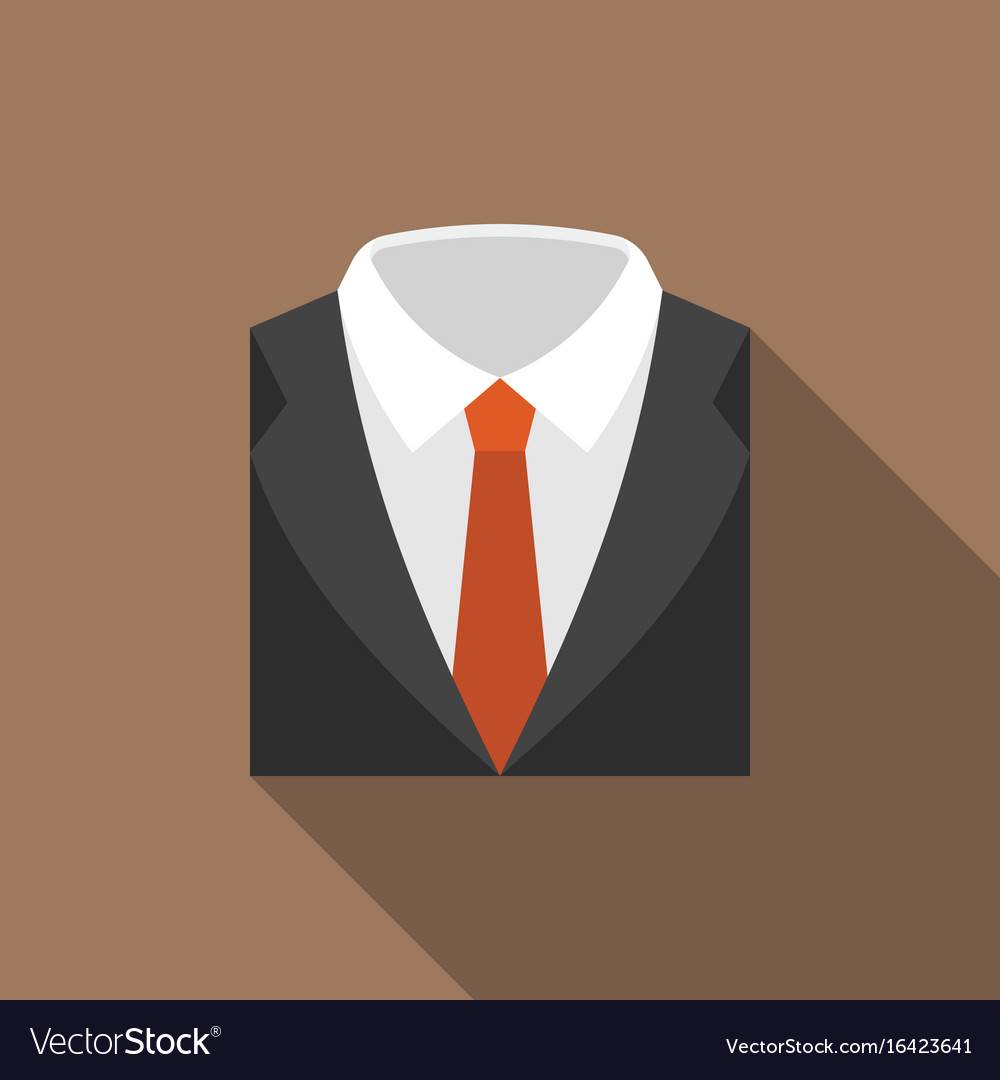 Suit and tie icon with long shadow