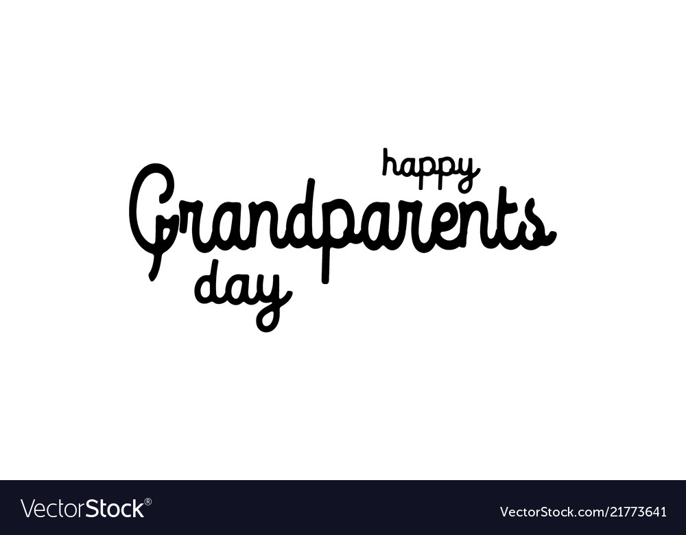 Text happy grandparents day on white background