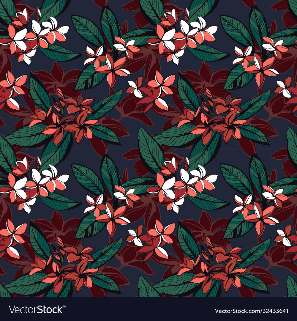 Tropical floral summer seamless pattern