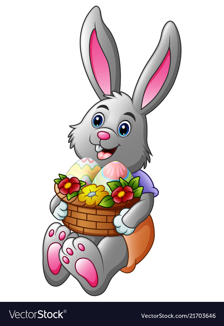 Cartoon easter bunny holding a basket full of eggs