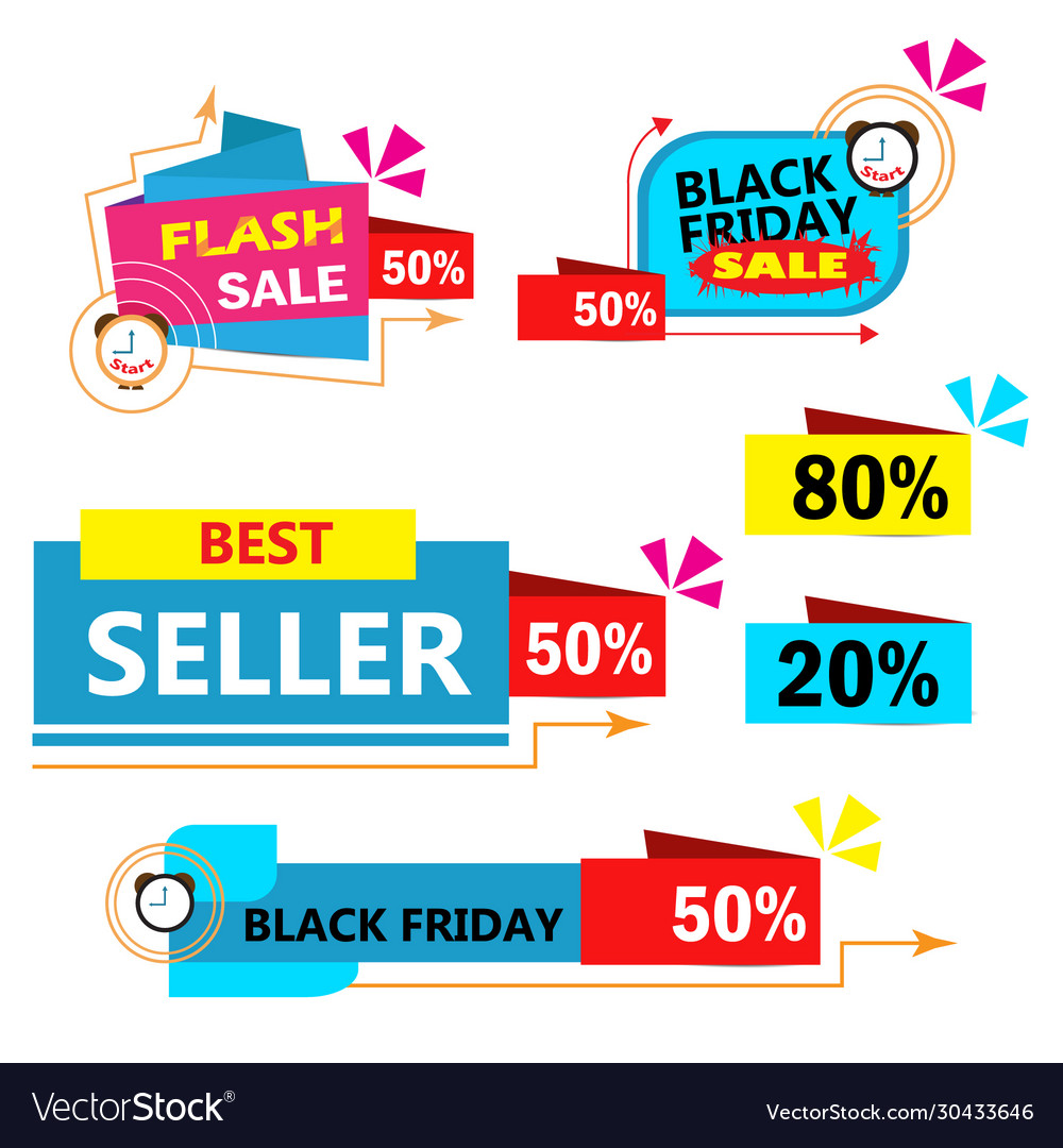 Colorful sales banner on white background