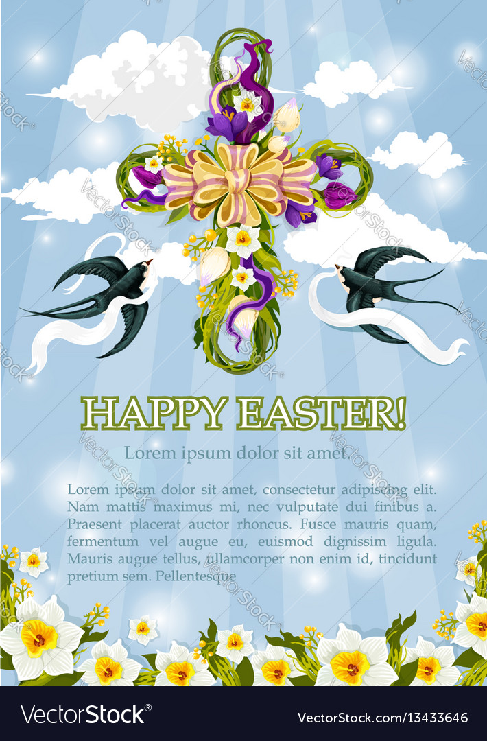 Easter crucifix cross of flowers poster vector image