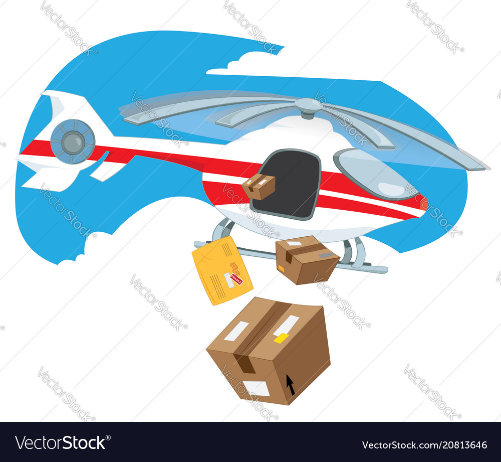 Flying helicopter delivering boxes and packages