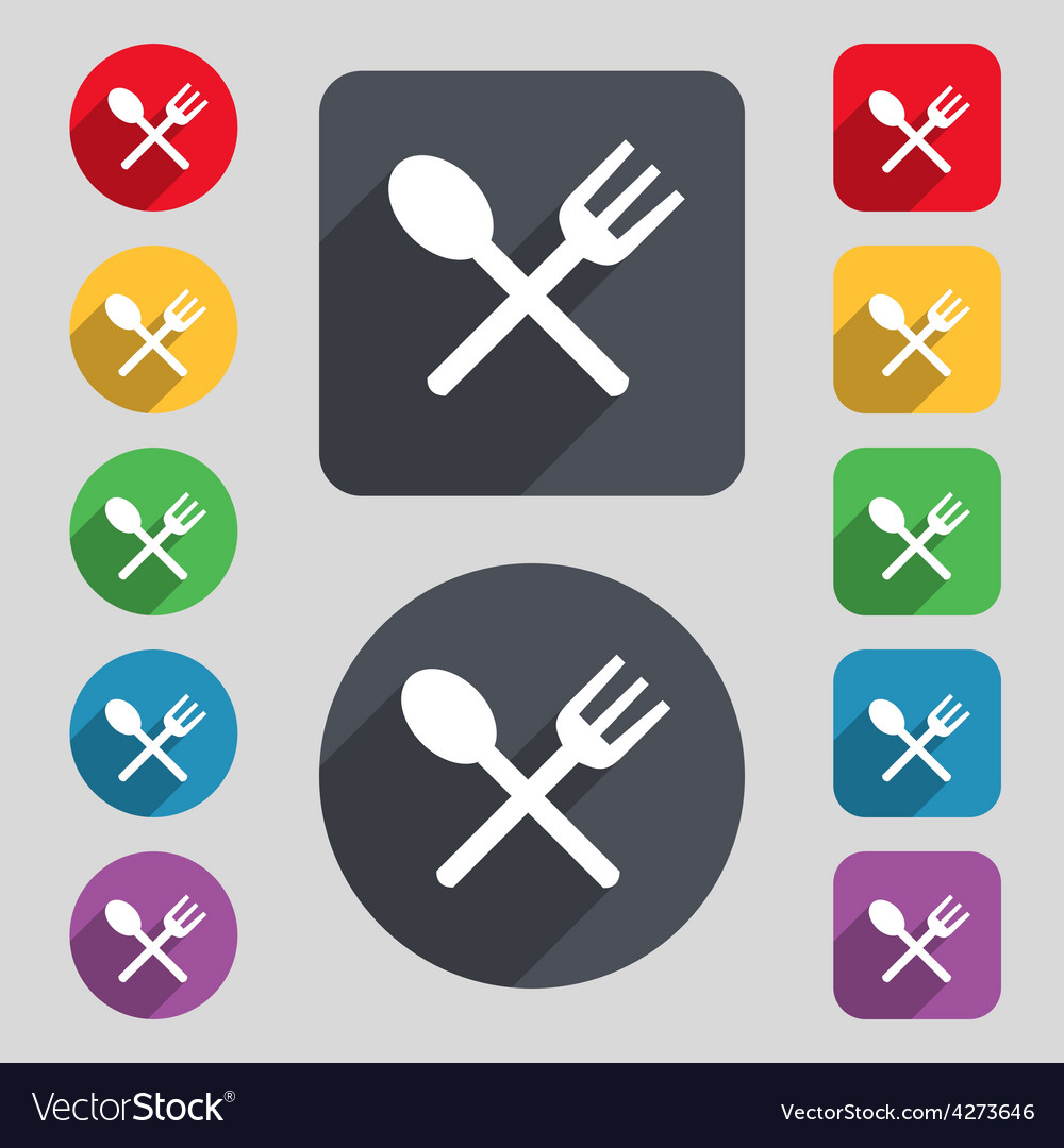 Fork and spoon crosswise Cutlery Eat icon sign A