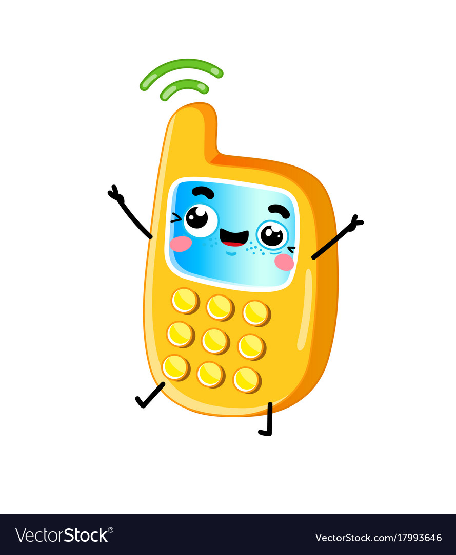 Funny Mobile Phone Cartoon Character Royalty Free Vector