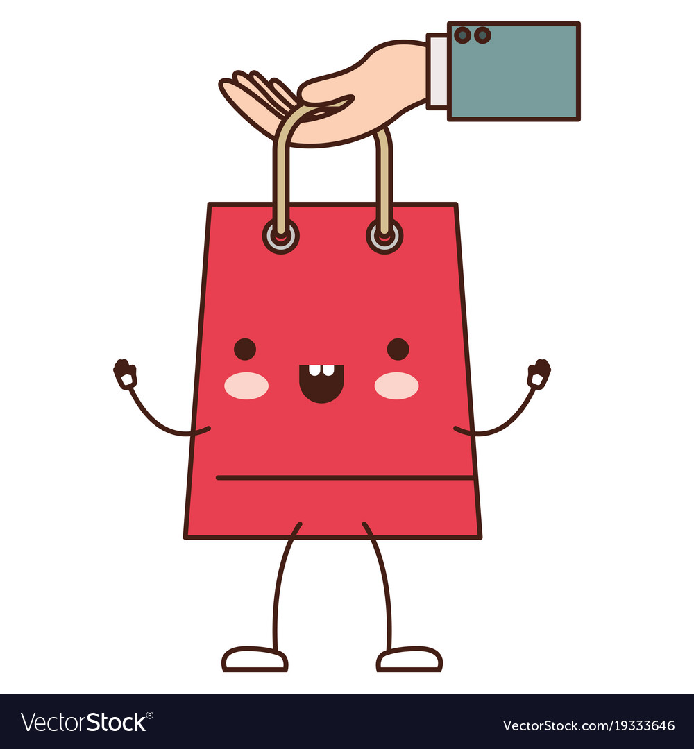 Hand holding a trapezoid kawaii animated shopping