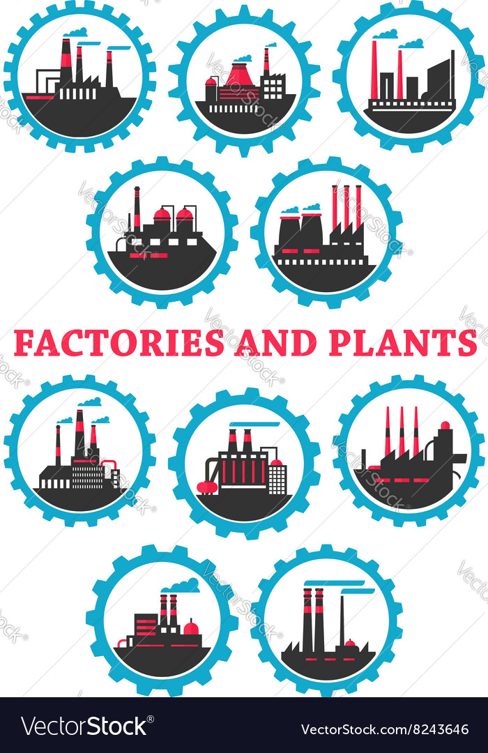 Industrial plants and factories icons vector image