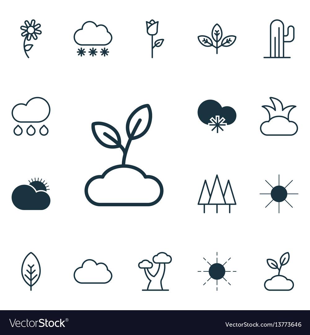 Set of 16 landscape icons includes plant cloud