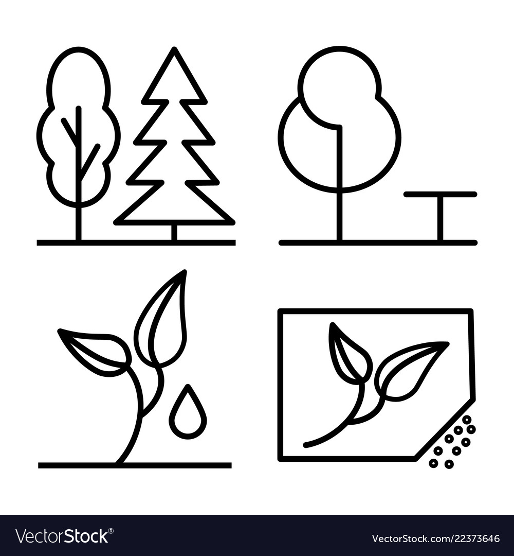 Set of plants and trees thin line icon 48x48