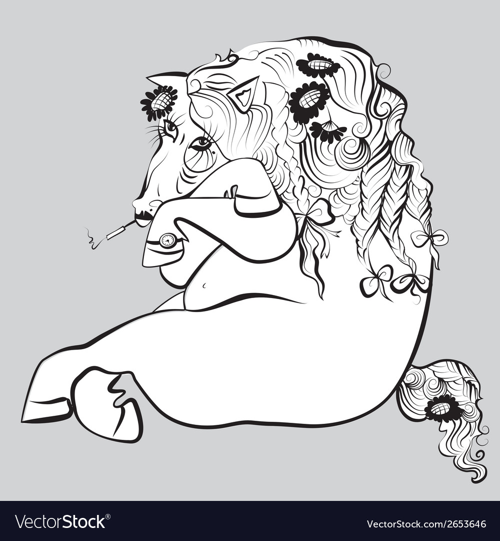 Smoking horse vector image
