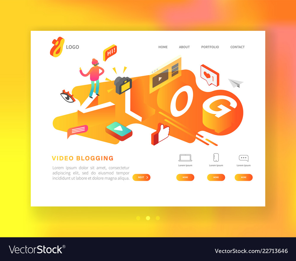 Social media isometric landing page template