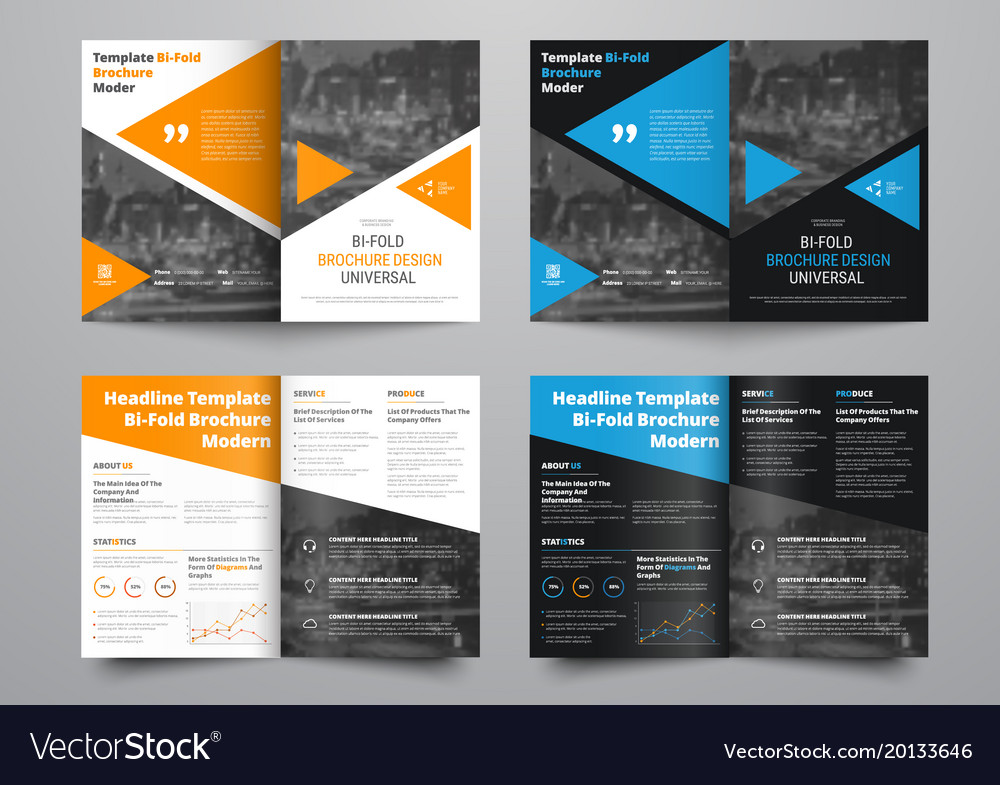 Template Of White And Black Bi Fold Brochure With Vector Image