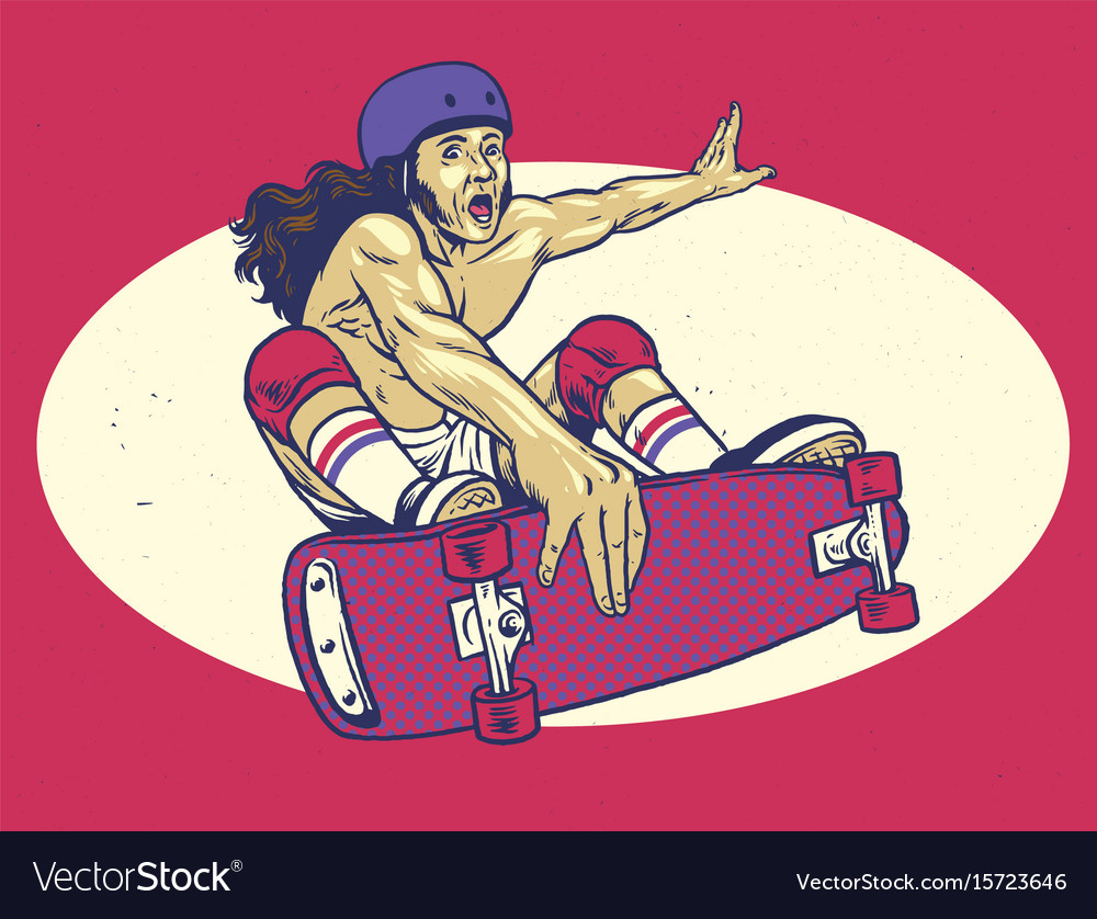 Vintage hand drawing of man playing skateboard