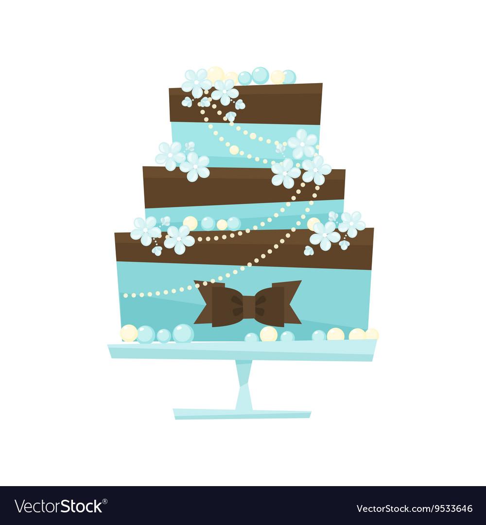 Wedding cake in flat cartoon style