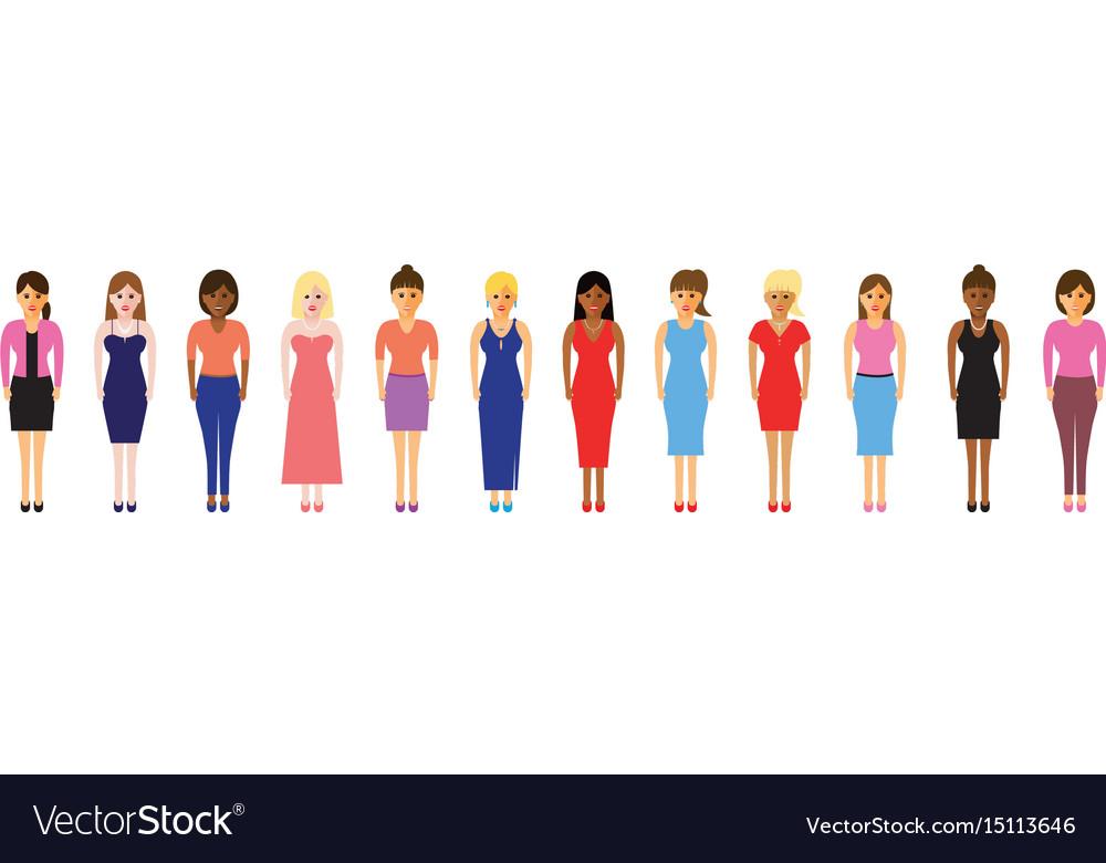 Women in a line