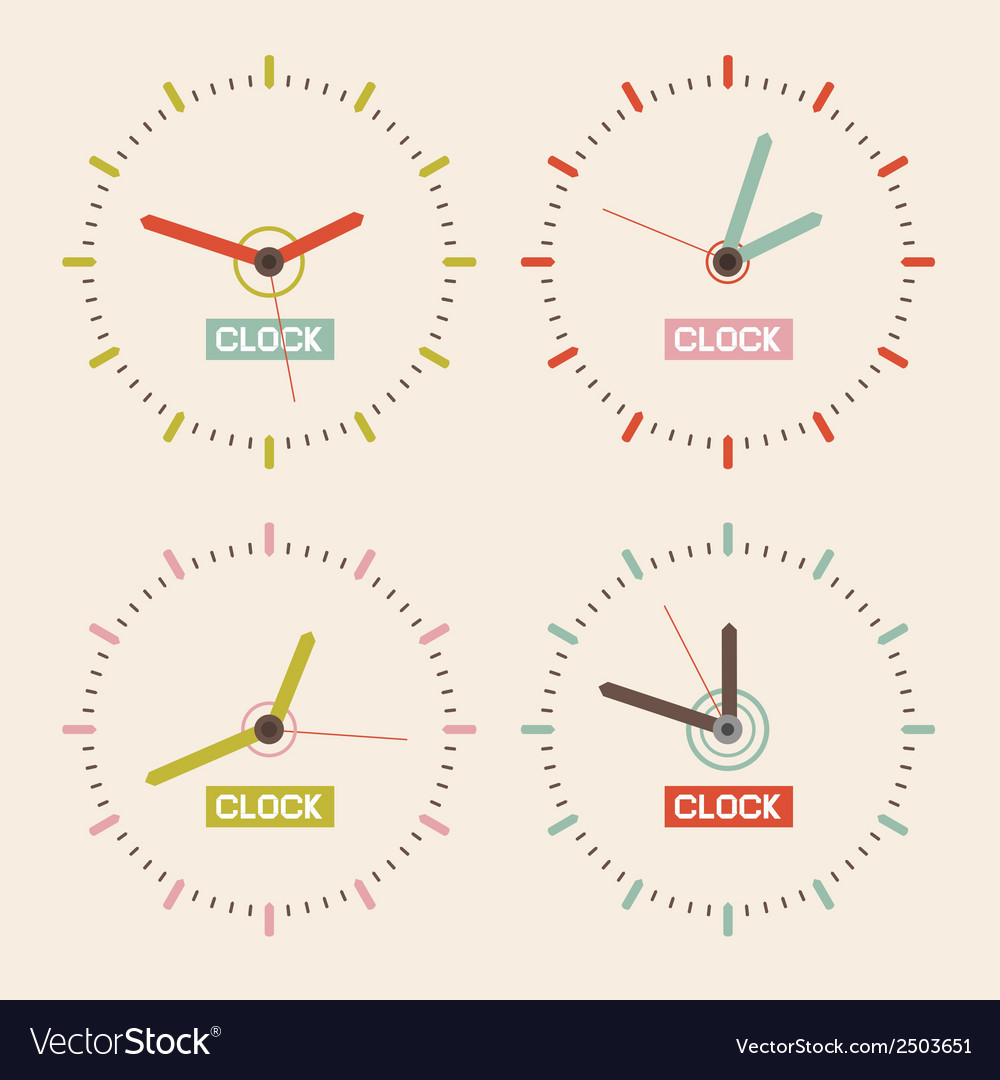Abstract Retro Clock Set vector image
