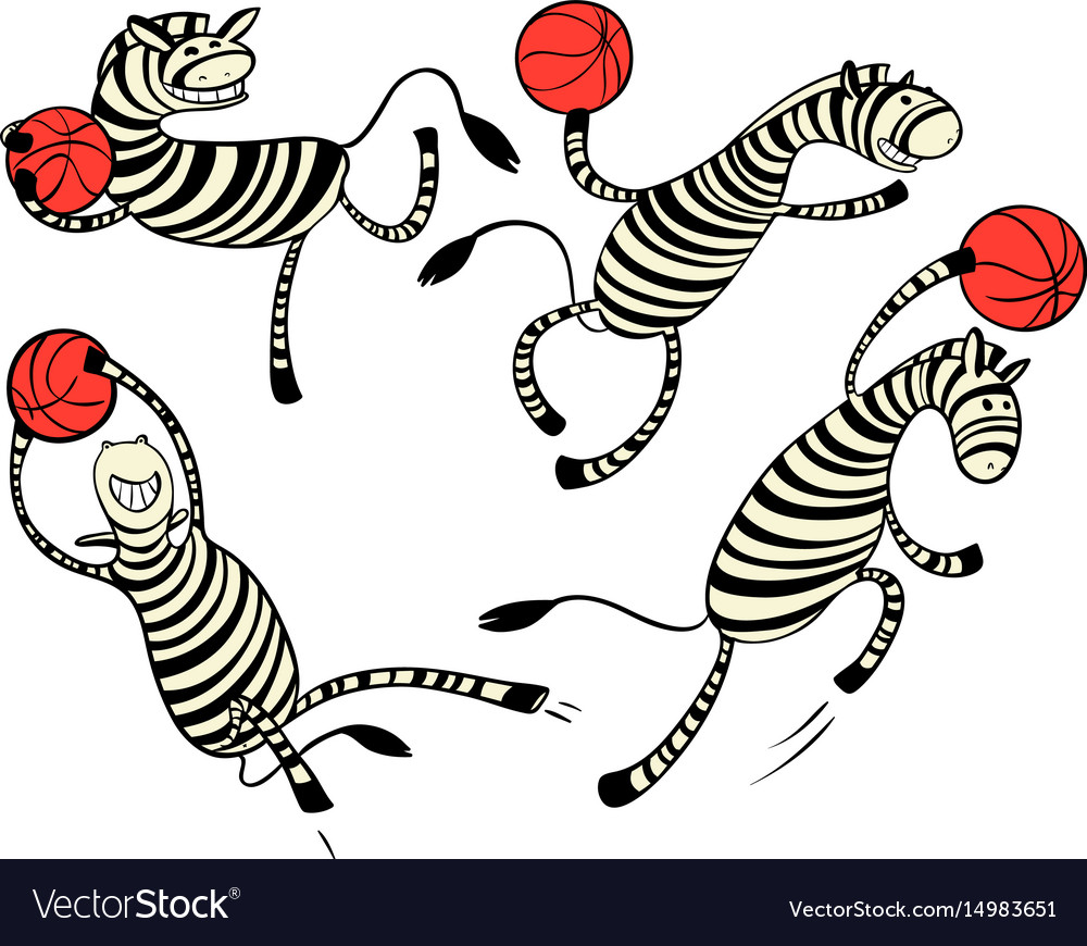 Basketball game set with doodle cute zebra player