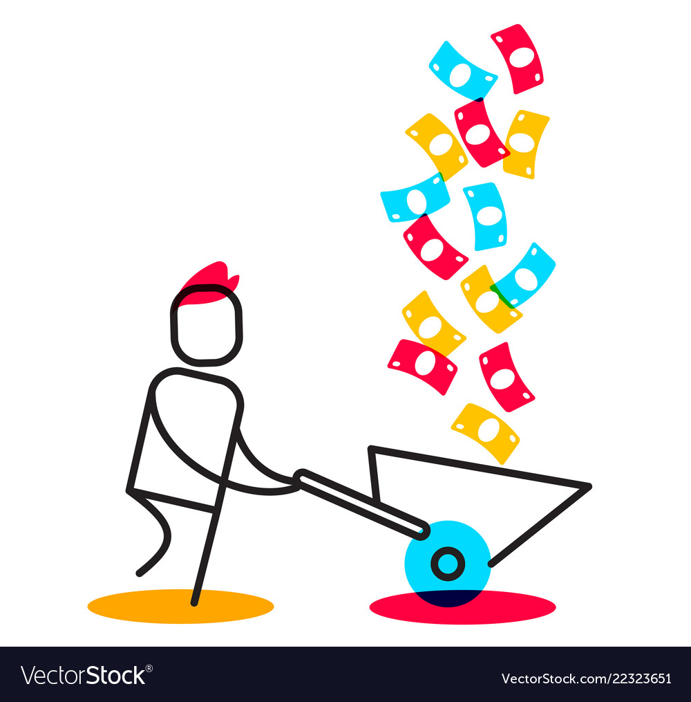 business of a man collecting money rain in vector image