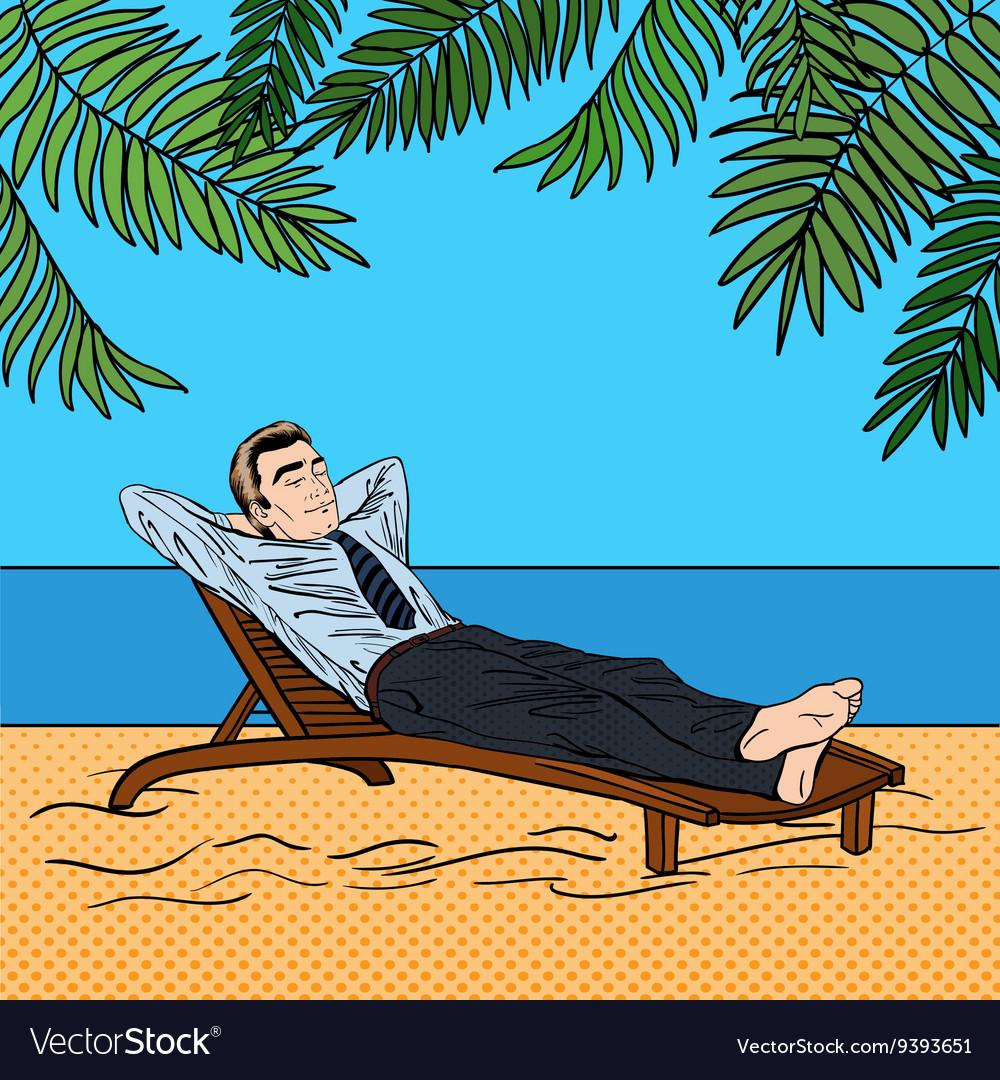 Businessman Relaxing on the Beach Pop Art