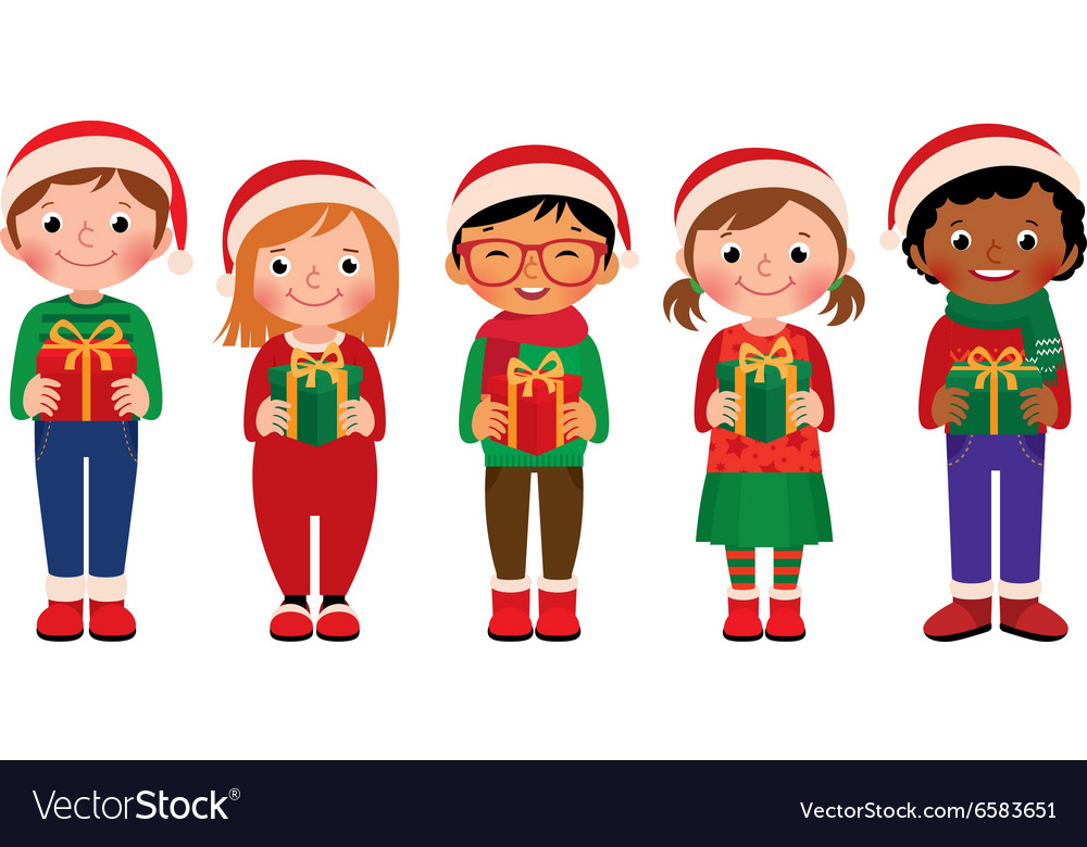 Cartoon children with Christmas gifts Royalty Free Vector