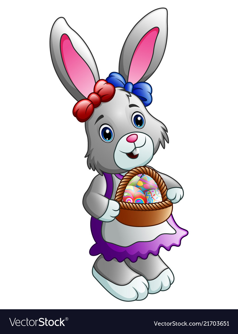 Cartoon easter bunny with a basket full of eggs