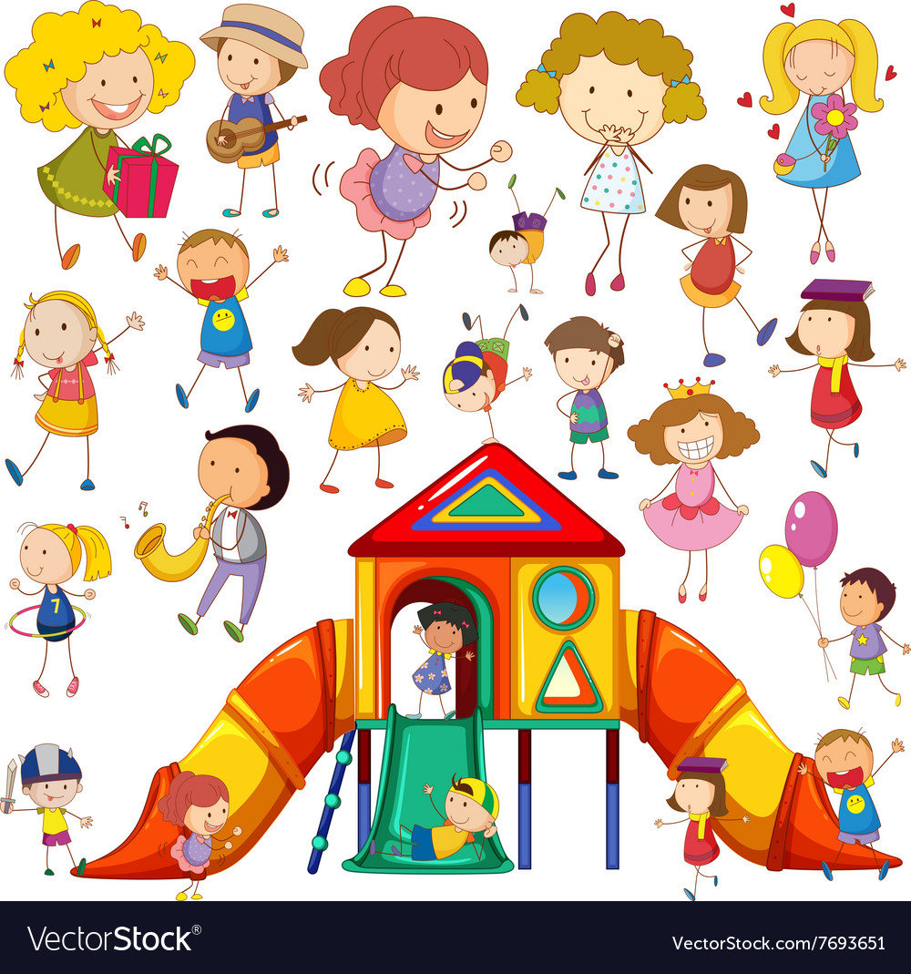 Children doing different actions and playhouse