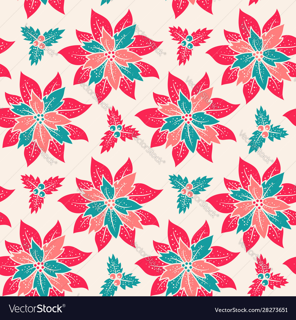Christmas patttern with red flowers