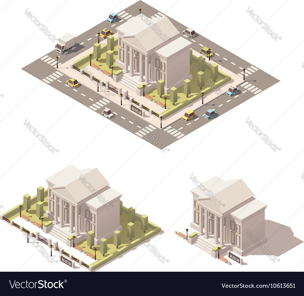 Isometric low poly museum building icon