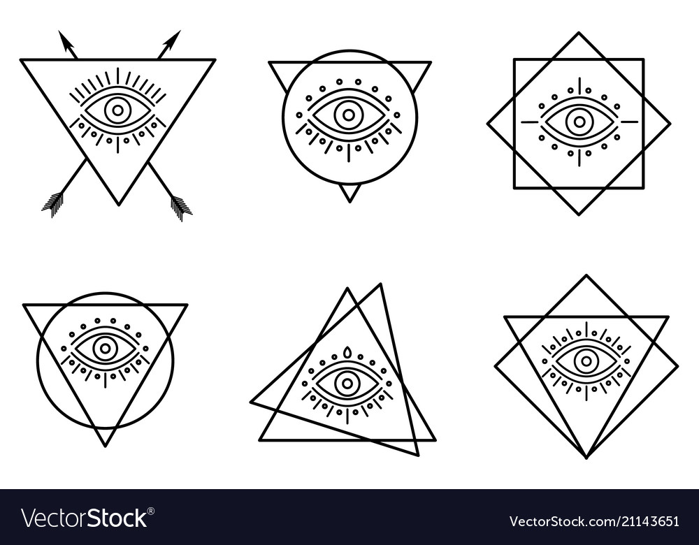 Line all seeing tattoo eyes in triangles