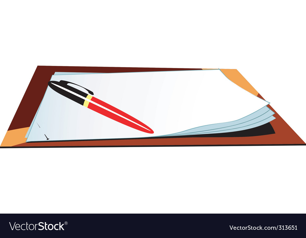 Pen on top of papers vector image