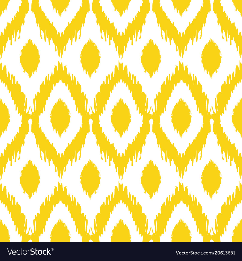 Seamless ikat pattern in yellow and grey colors