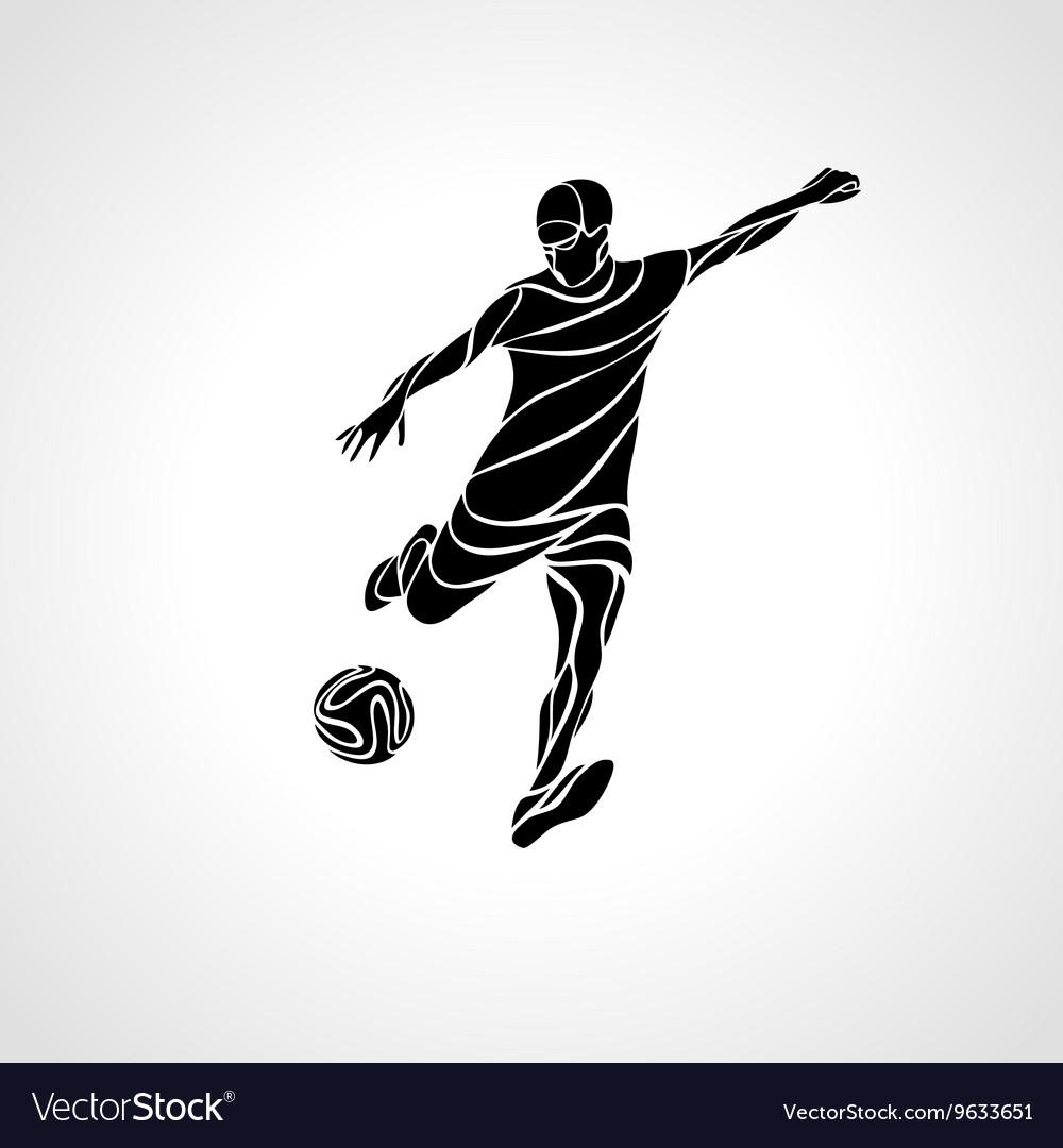 Soccer or football player kicks the ball vector image