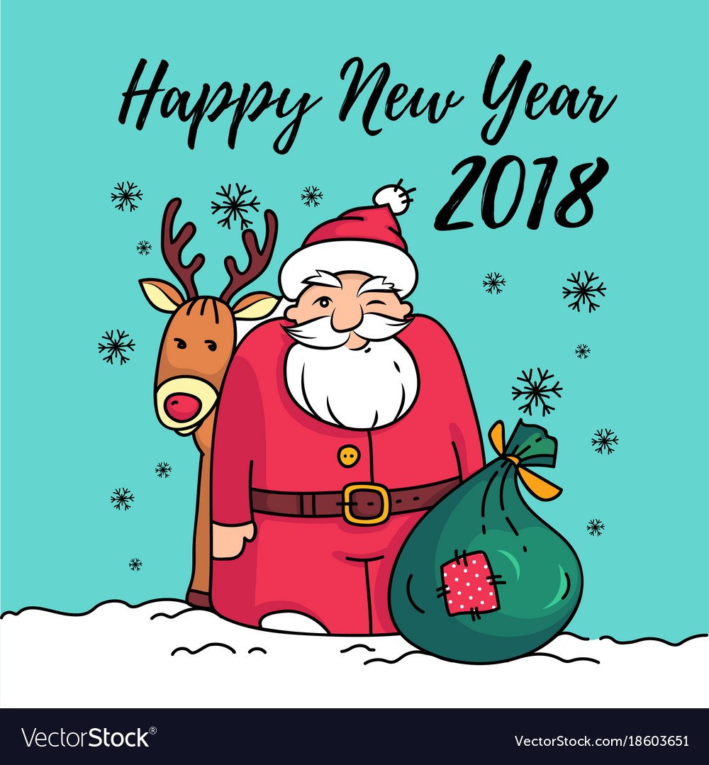 Template of happy new year 2018 card with santa