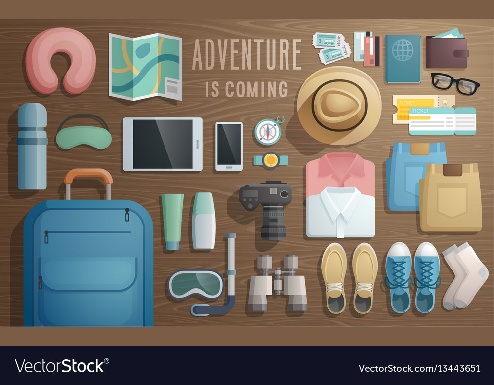 Travel accessories prepared for the trip on
