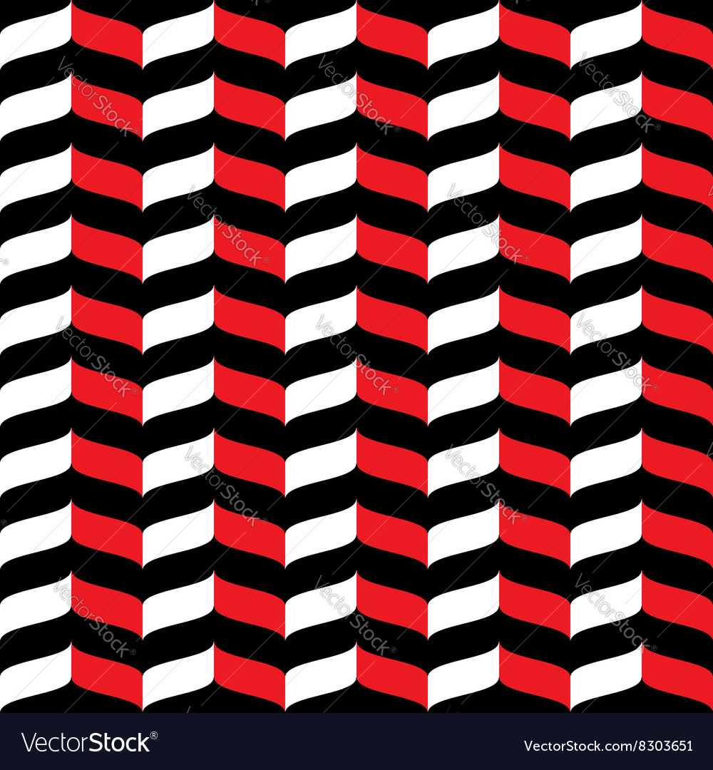 Wavy zig zag seamless pattern red white and black