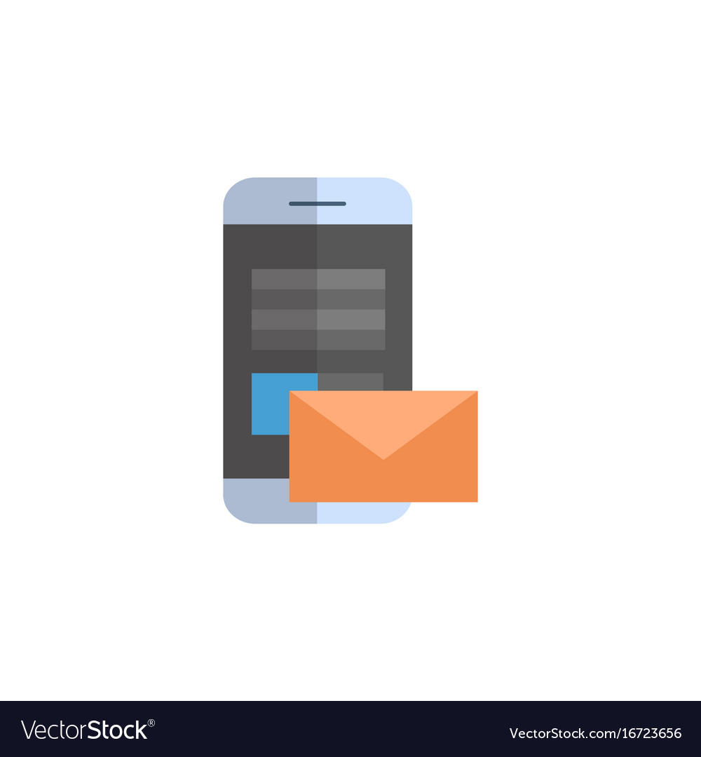 Cell smart phone with envelope icon email letter