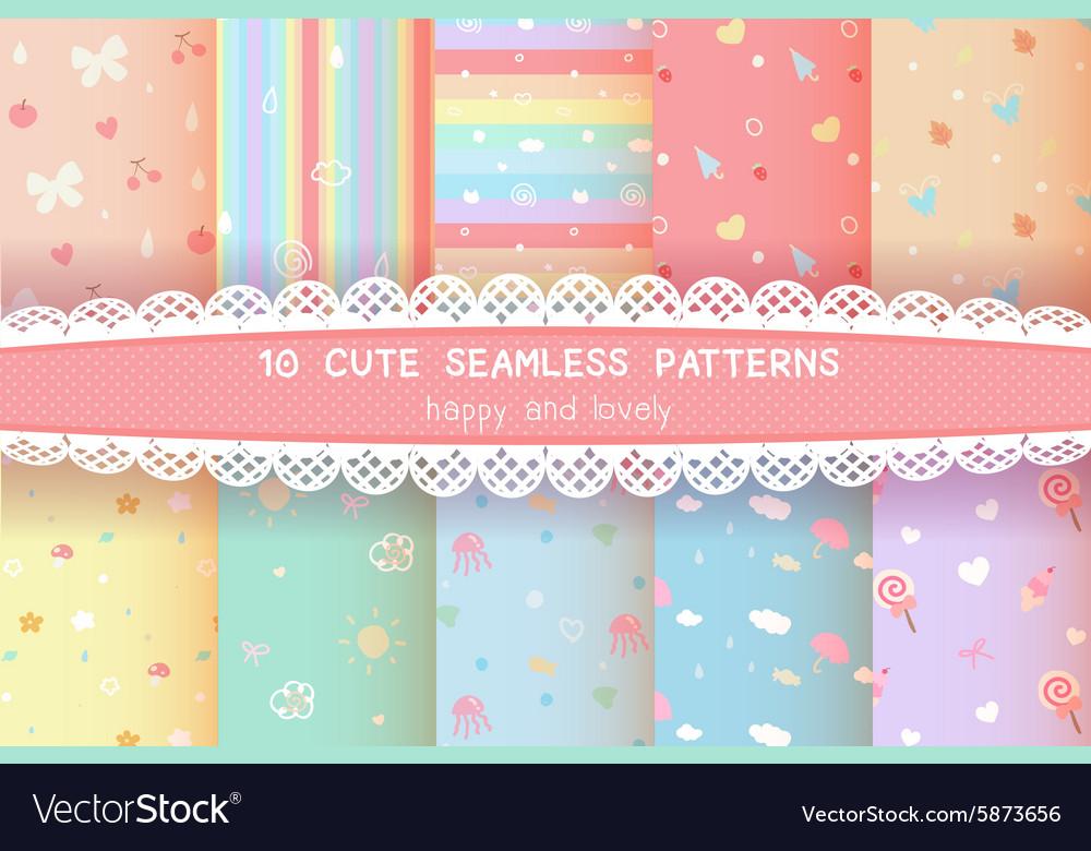 Cute rainbow season colorful pastel seamless vector image