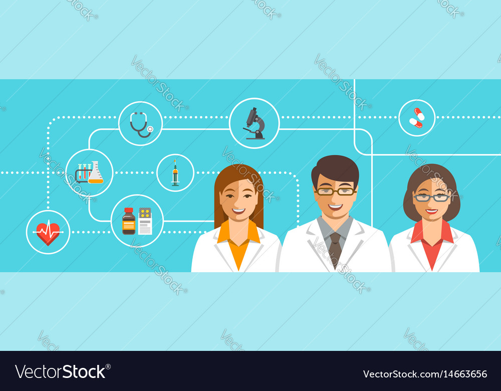 Doctors team with medical icons