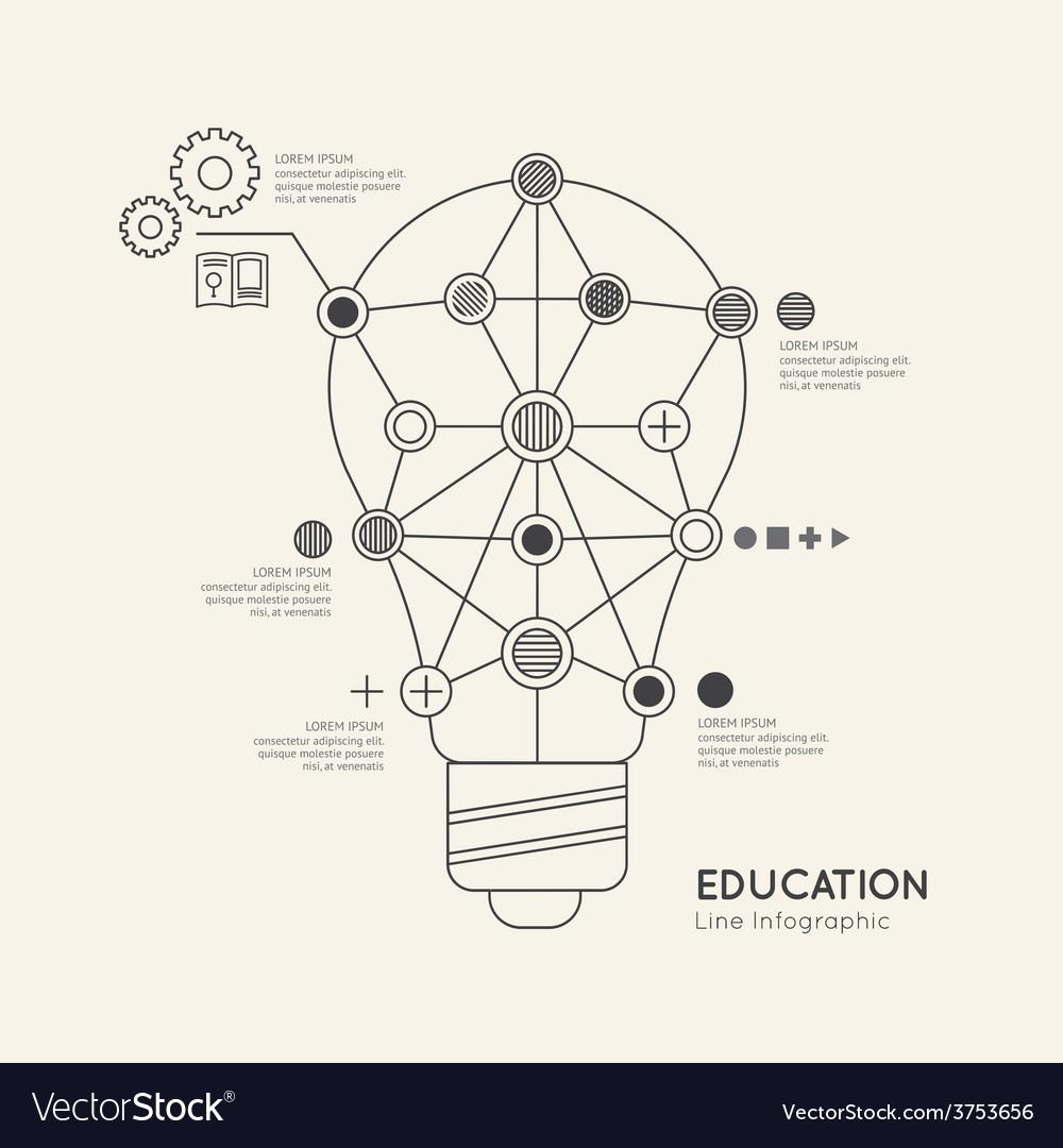 Flat linear Infographic Education Outline lightbul