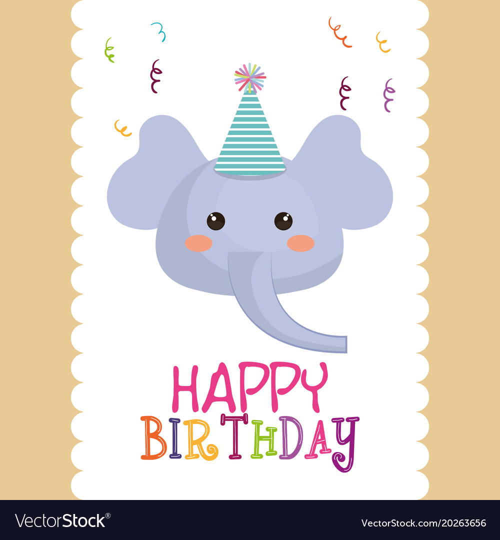 Happy Birthday Card With Cute Elephant Character Vector Image