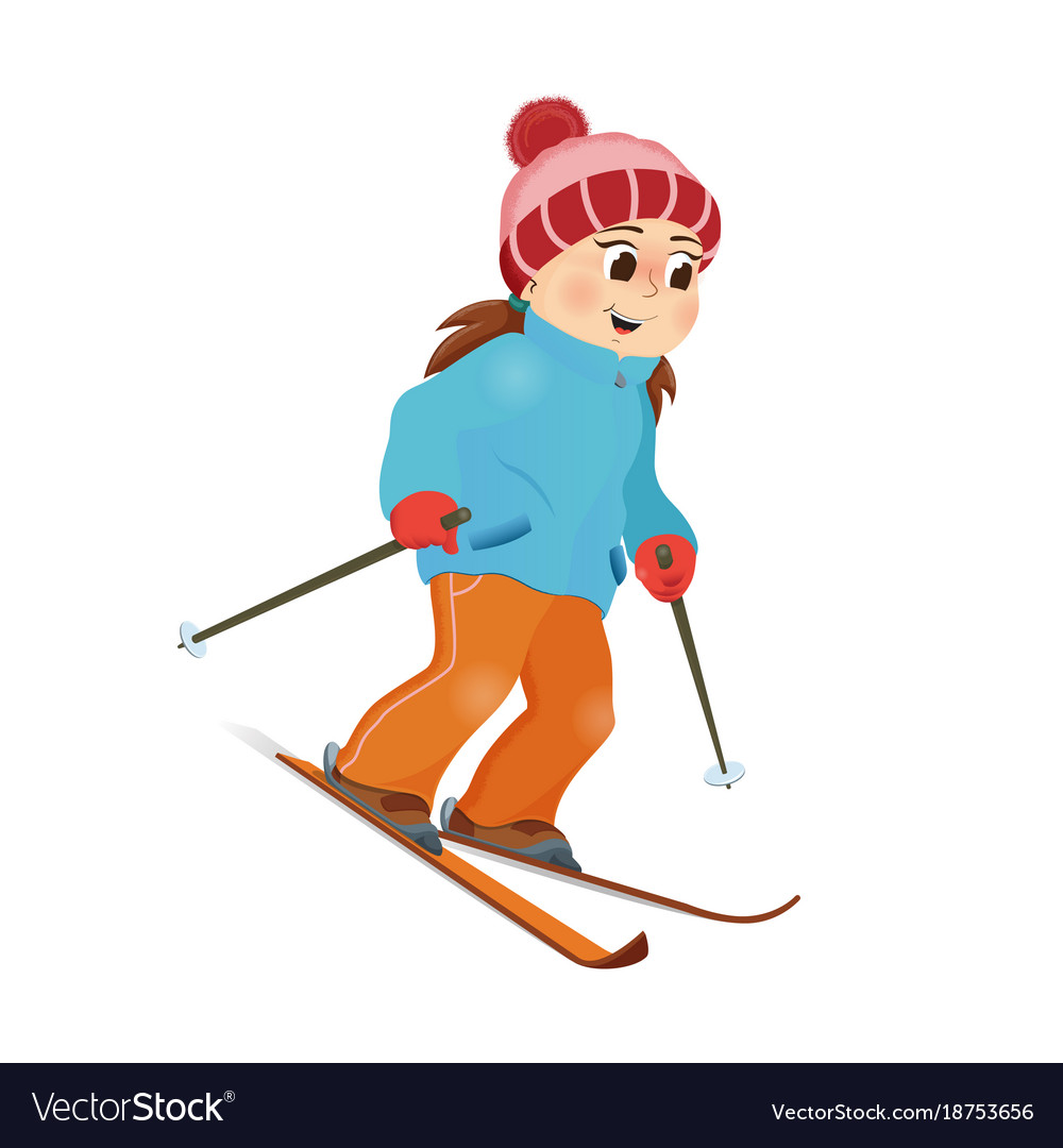 Happy funny girl skiing downhill winter sport