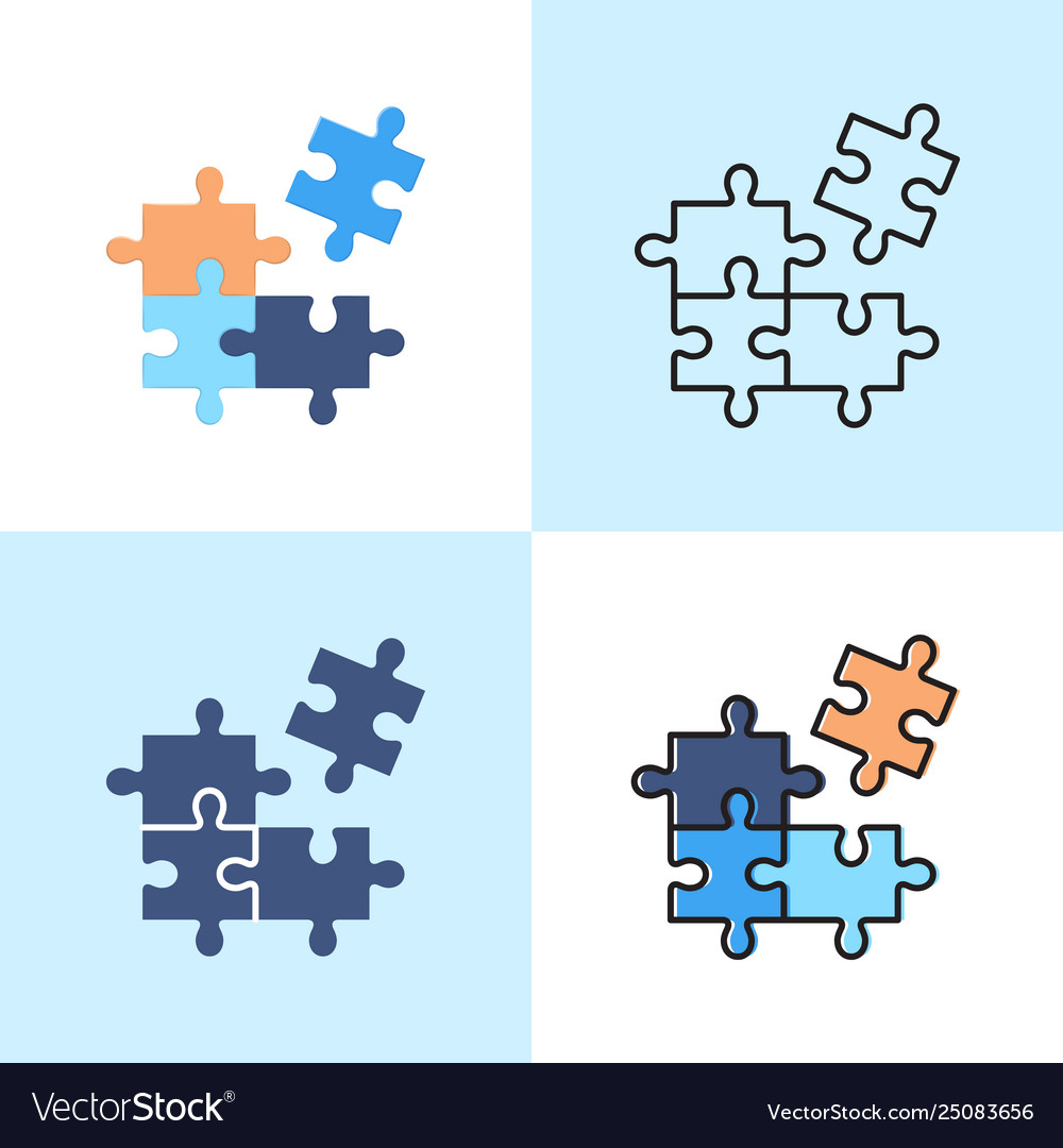 Jigsaw puzzle icon set in flat and line styles