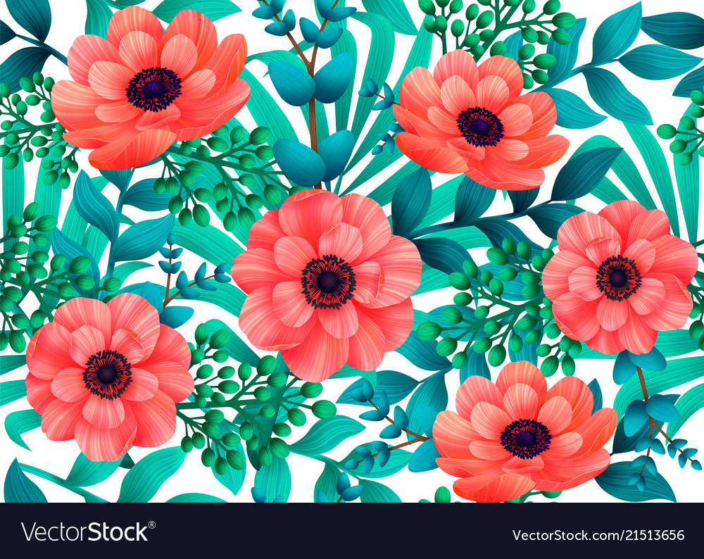 Luminous tropical seamless pattern with 3d style